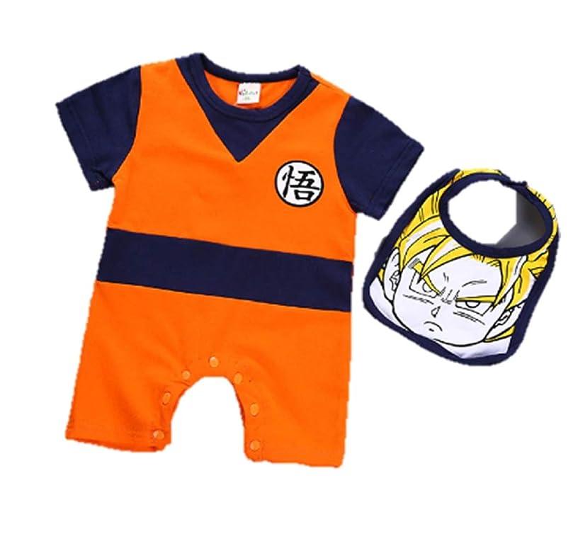 JarilnMo DBZ Baby Onesie Dragon Ball z Cosplay Short-Sleeve Goku Boys Rompers Costume Jumpsuit oufit with bib