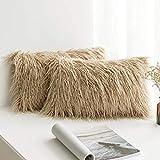 Walant Funda de cojín, 30 x 50 cm, de piel sintética, decorativa, suave, decorativa, de pelo largo, para coche, salón, dormitorio, sofá, marrón, 50 x 30 cm
