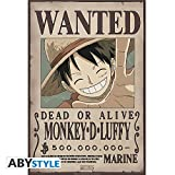 ABYstyle Abysse Corp_ABYDCO427 - Póster con Texto en inglés Wanted Luffy New (52X35)