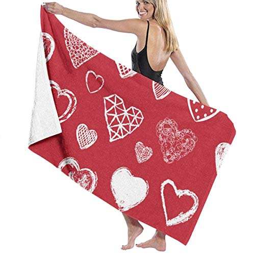 xcvgcxcvasda Badetuch, Microfiber Beach Towels Comfortable Quick Dry Ultra Absorbent Towels Lightweight Bath Beach Towels for Sports, Travel, Swim, Hiking and Camping, Valentines Day Seamless Pattern