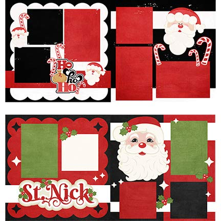 Miss Kate Cuttables Bedruckte Layouts – Ho Ho & St. Nick – 2-2 Seiten 30,5 x 30,5 cm – 2 Duplikate 15,2 x 15,2 cm – 22,8 kg Spezialpapier – exklusive Weihnachtsdesigns