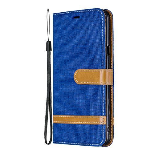 PROTECTIVECOVER + Caja de cuero de textura de mezclilla a juego de color for LG Stylo 5, con soporte y tragamonedas y billetera y cordón De Caja de protección de la moda ( Color : Royal blue )