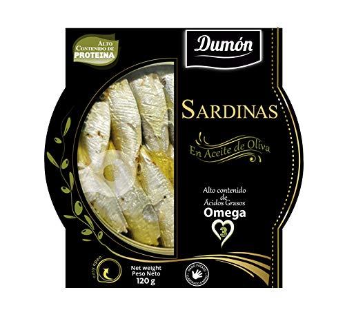 Dumon - 14 Unità da 120 gr Sardine in Scatola di Olio D'Oliva. Gourmet. Con Copertina Trasparente Esclusiva, Apri Facile, Pesce in Ccatola Ricco di Proteine e Omega 3