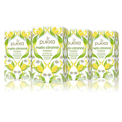 Pukka Infusion Bio Matin citronné, Citron & Fenouil, Ingrédients d'origine biologique, Certifié Fair For Life, Lot de 4 x 20 Sachets 30g
