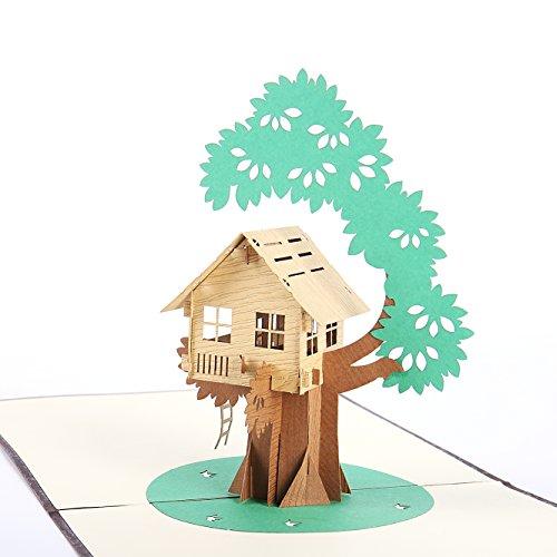 Liif Baumhaus Pop Up Karte, 3D Haus Pop Up Grußkarte, Pop Up Karte für alle Gelegenheiten, Geburtstag, Kinder, Vatertag, Glückwünsche, handgemachtes Geschenk