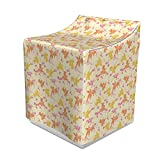 Ambesonne Floral Washer Cover, Goldfishes with Pastel Cherry Blossom Sakura Flowers Spring Tree Pattern, Suitable for Dryer and Washing Machine, 29' x 28' x 40', Pale Yellow Pink Rust