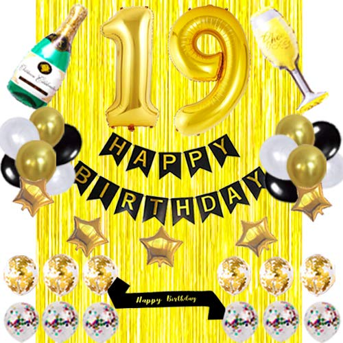 Black sash 19 birthday Party Decorations KIT -HAPPY BIRTHDAY Banner Foil Number Balloons 19 Confetti Balloons Gold Foil Fringe Curtains Perfect for 19 Years Old 19th Anniversary Decorations yujiaonly