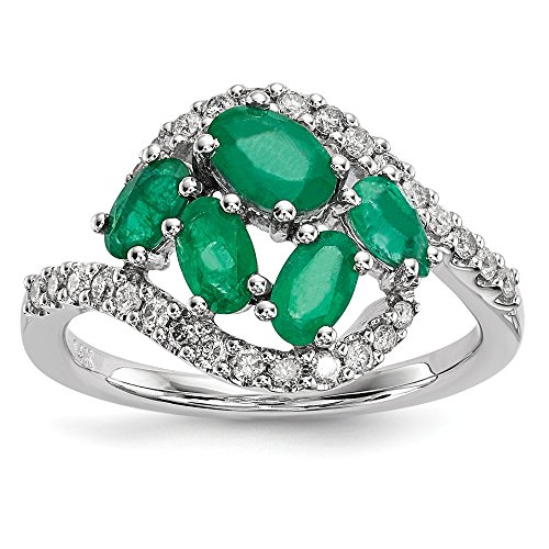 14k White Gold Diamond Green Emerald Band Ring Size 7.00 Gemstone Fine Jewellery For Women Mothers Day Gifts For Her