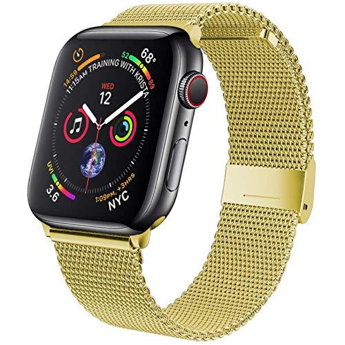 Correa para Apple Watch Band 42 Mm 38mm Cinturón de metal de acero inoxidable Milanese Loop Pulsera para IWatch Series 5 4 Se 6 40mm 44mm-dorado, 38 o 40 Mm