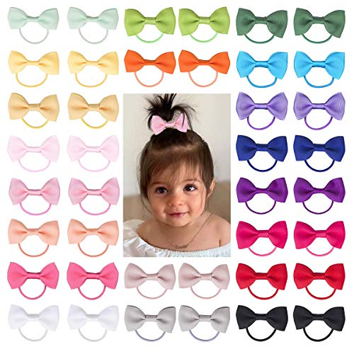 Baby Hair Ties with Bows for Toddler - 2 Inch Elastic Ponytail Holders Small Hair Ties For Baby Girls Infants Hair Accessories 40 Pieces