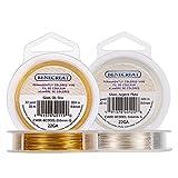 BENECREAT 40m 0.6mm Alambre de Cobre Dorado y Plateado Cable Metal Alambre de Joyería para...