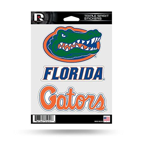 NCAA Rico Industries Die Cut 3-Piece Triple Spirit Sticker Sheet, Florida Gators