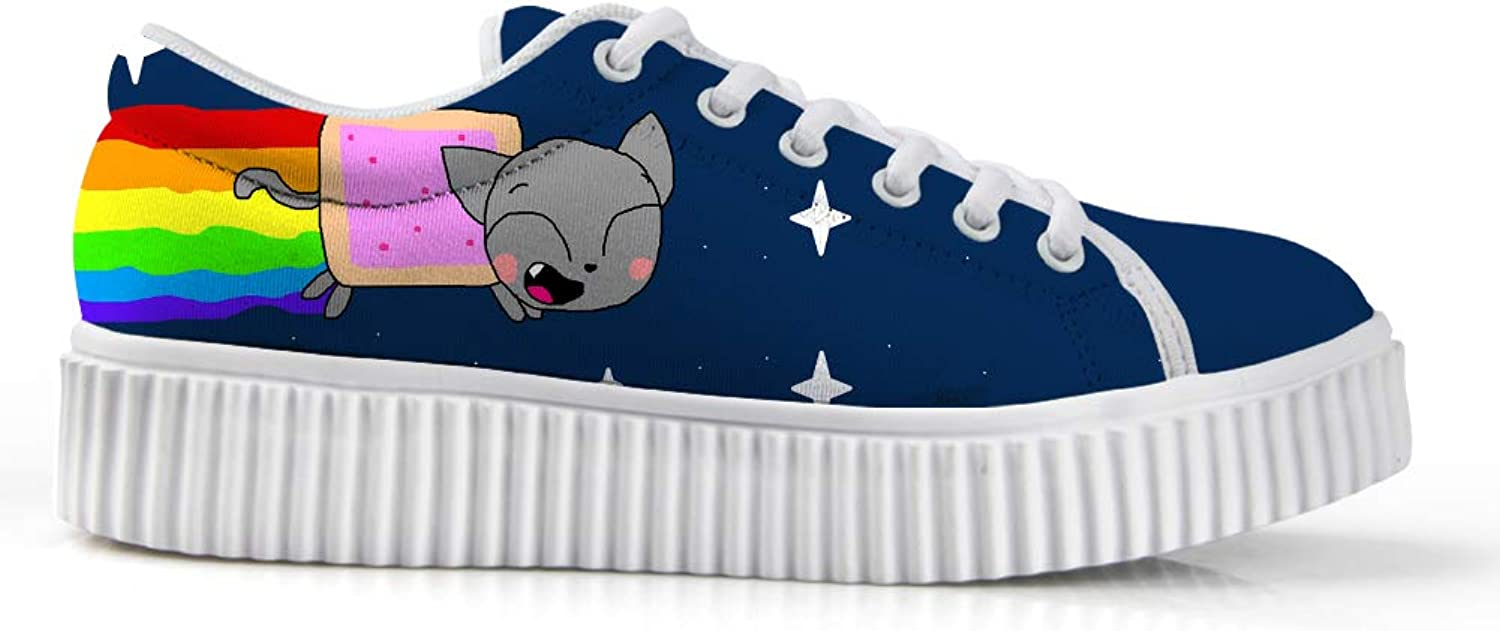Owaheson Platform Lace up Sneaker Casual Chunky Walking shoes Low Top Women Rocket Rainbow Cat Collecting Stars