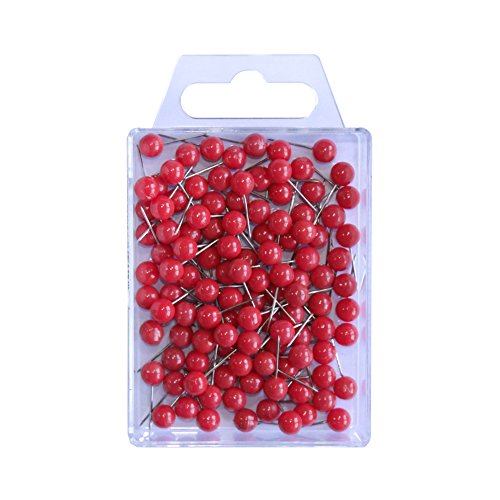 WEDO 56102 Markierungsnadeln (Rundkopfnadeln, Nadellänge 16 mm, Kopfdurchmesser 6 mm) 100 Stück, rot