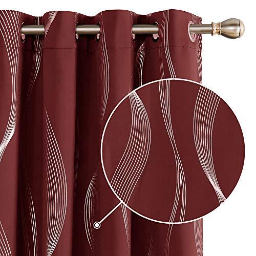 Deconovo Ösenvorhänge Blickdichte Gardinen mit Muster Vorhang Ösen Wohnzimmer 183x117 cm Rot 2er Set