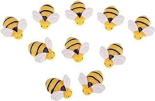 JeeKoudy 10 pièces en résine Flatback Embellissement Forme d'abeille pour Accessoires de Maison de poupée Miniature Jardin...