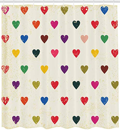 vrupi Bunte Duschvorhang Herzen Retro-Ziegel Distressed Grunge-Erscheinungsbild Valentinstag Liebesthema 71x71inch Polyester wasserdichtes Gewebe einschließlich zwölf Kunststoffhaken
