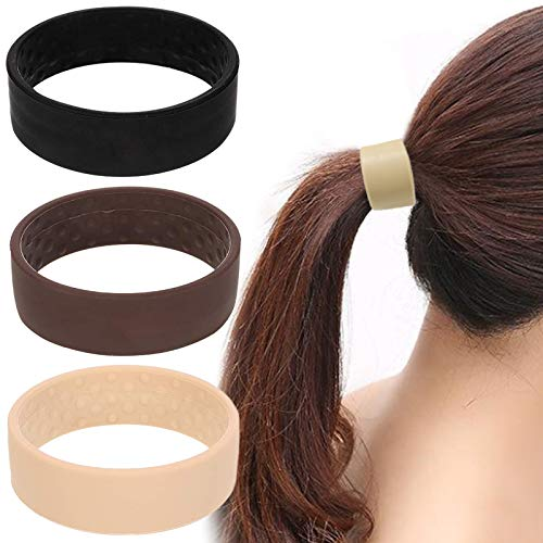 Silicone Foldable Stationarity Hair Tie Elastic Hair Band Scrunchie Ponytail Holder Hair Ring Accessories, 3 Packs