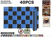 エースパンチ 新しい 40ピースカラーコンビセット青と黒 250 x 250 x 50 mm ウェッジ 東京防音 ポリウレタン 吸音材 アコースティックフォーム AP1134