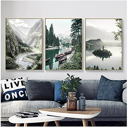 Póster de paisaje de naturaleza en blanco y negro, barco nórdico, lago, montaña, impresión en lienzo, arte de pared, pintura, imágenes de decoración del hogar