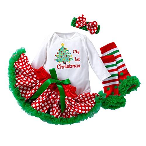 Conjunto de 4 piezas para recién nacidos de Navidad para niñas de 0 a 24 meses, Árbol bordado, 6-12 Meses