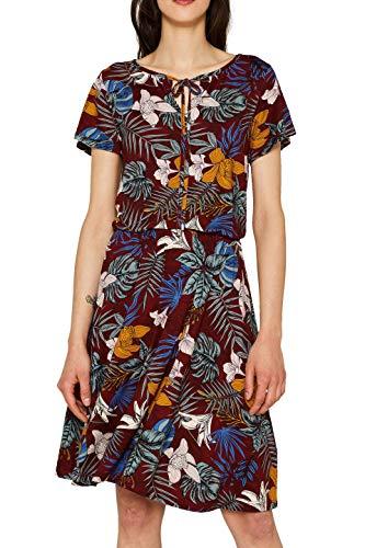 ESPRIT Damen 059EE1E002 Kleid, Rot (Bordeaux RED 600), Small (Herstellergröße:S)