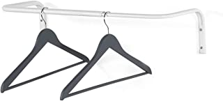 brightmaison Wall Mounted Adjustable Durable Steel Clothes Rack Drying and Hanging Closet Bar Rail Organizer (White)