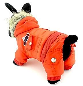 Zunea Airman Petit Chien d'hiver Combinaison Polaire à capuche imperméable chaud pour animal domestique Chiot Manteau Veste Combinaison (Ce Style Plus Petit, veuillez choisir une Taille plus grande)