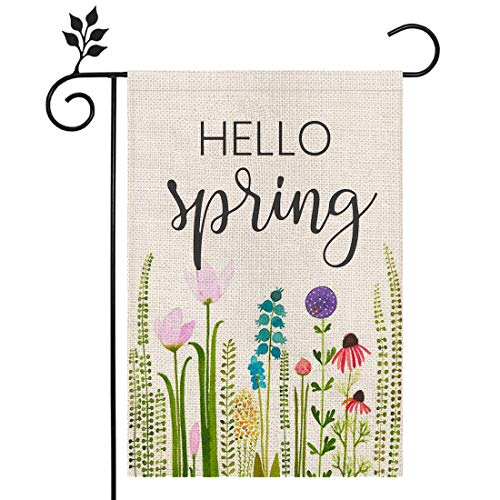 CROWNED BEAUTY Hello Spring Floral Garden Flag 12×18 Inch Small Vertical Double Sided Seasonal Outside Décor for Yard Farmhouse CF094-12