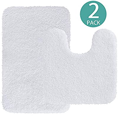 "Bathroom Rugs 2-Piece (Set of Two - 32"" x 20""/20"" x 20"")  White Bath Mats Silver Shower Shaggy Floors Extra Thick Super Soft Best Absorbent Plush Machine Washable Dry Carpet Grey Gentsing"