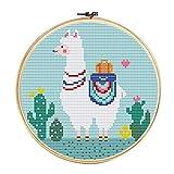 Xnuoyo Diy Bordado A Mano, Kit De Inicio De Bordado Con Patrón De Alpaca E Instrucciones, Kit De Punto De Cruz Para Principiantes Para Adultos Y Niños, Con Círculo De Bordado 6 pulgadas (alpaca)