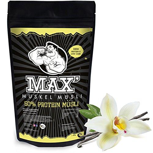 MAX MUSKEL MÜSLI Protein Müsli Low Carb ohne Zucker-Zusatz & Nüsse - Müsli wenig Kohlenhydrate viel Eiweiss Sportlernahrung für Muskelaufbau & Abnehmen 500g Beutel (Vanille)