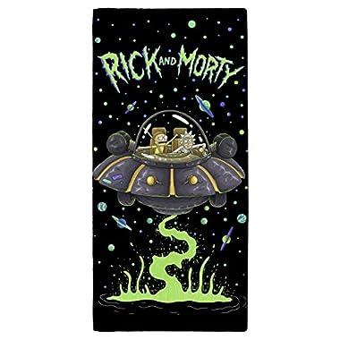 Rick And Morty Ufo Towel, Cotton, Multi-colour, 70 x 0.5 x 140cm