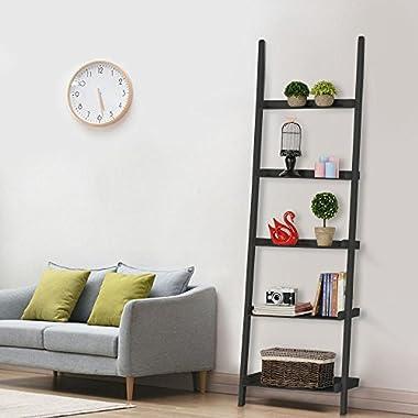 Topeakmart Living Room Black Wooden 70 Inch 5 Tier Leaning Ladder Shelf Bookcase Bookshelf Stylish Display Storage Shelves Unit
