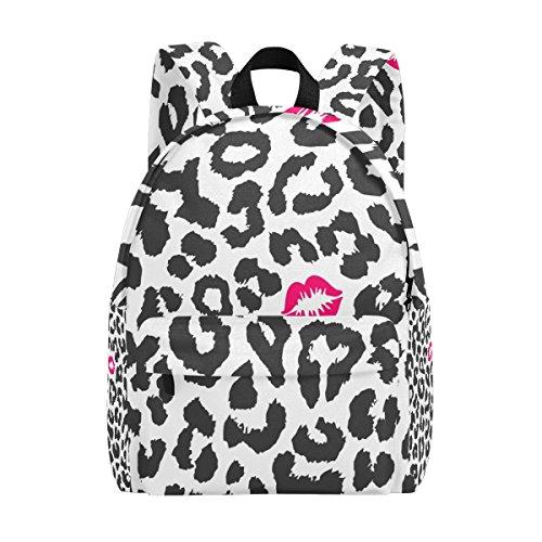COOSUN Luipaard Textuur met Kus Print Lichtgewicht School Klassieke Rugzak Reizen Rugzak voor Meisjes Vrouwen Kids Tieners