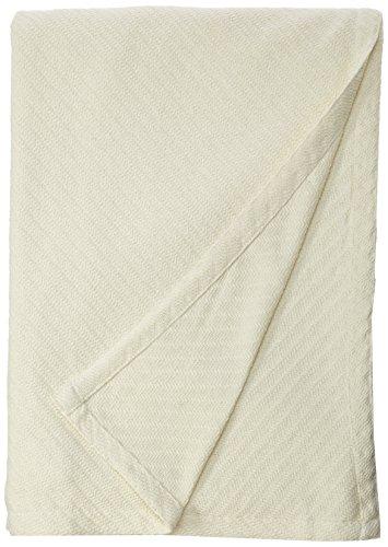 COTTON CRAFT - Super Soft Premium Cotton Herringbone Twill Thermal Blanket - Full/Queen Ivory