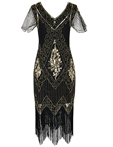 PrettyGuide Women's 1920s Dress Sequin Flapper Dress With Sleeve XXL Gold