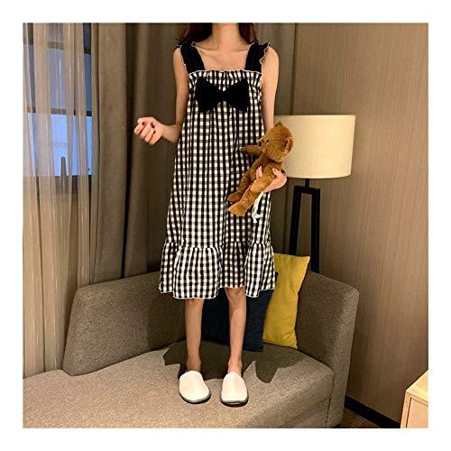 YUNGYE Camisón De Verano Dormir Camisón Chándal Chica - Suspender Pijamas For Mujer De Home Use Honda Camisones Usable Cuello Cuadrado Camisa De Tela Escocesa del Arco De Media Eslora