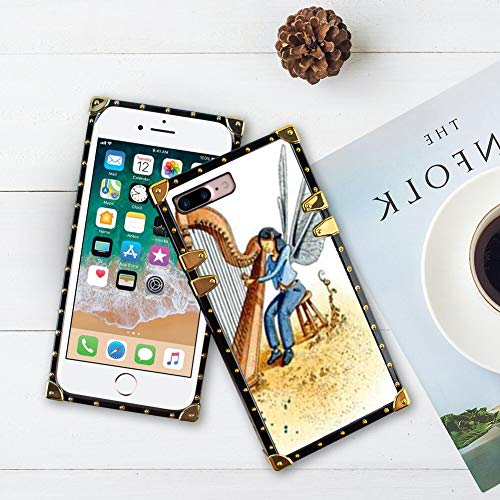 CuteeCase Square Case for iPhone 7/8 Plus TPU Bumper Cushion Bumper Flexible Shockproof Full Protective Decoration Gold Corner Cover Edges Autoharp