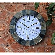 SLATE EFFECT GARDEN WALL CLOCK & THERMOMETER & HUMIDITY INDOOR OUTDOOR