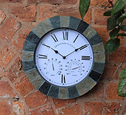 SLATE EFFECT GARDEN WALL CLOCK & THERMOMETER & HUMIDITY INDOOR OUTDOOR