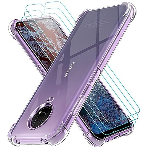 iVoler Cover per Nokia G20 / Nokia G10, Antiurto Custodia con Paraurti in TPU Morbido e 3 Pezzi Pellicola Vetro Temperato, Ultra Sottile Trasparente Silicone Protettiva Case