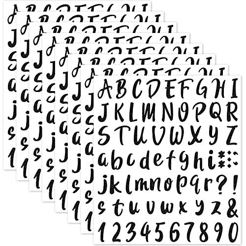 576 Stücke 8 Blätter Abschluss Kappe Aufkleber, Selbstklebende Vinyl Aufkleber, Alphabet Nummer Aufkleber, Abziehbilder für Schild, Tür, Geschäft, Adressnummer (Glitzer Schwarz, 1 Zoll)