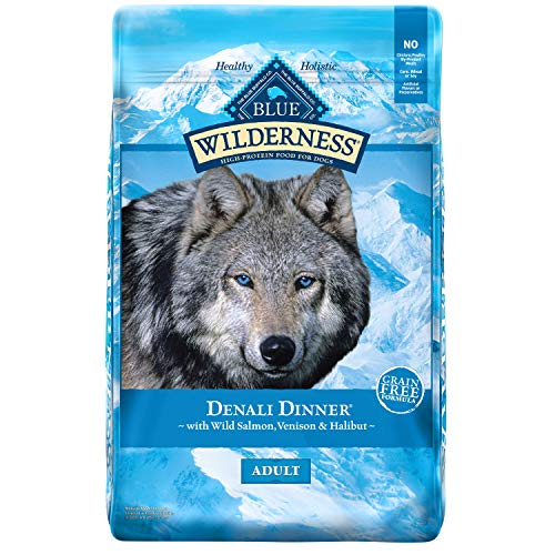 Blue Buffalo Wilderness Denali Dinner High Protein Grain Free Natural Adult Dry Dog Food with Wild Salmon, Venison & Halibut 22-lb