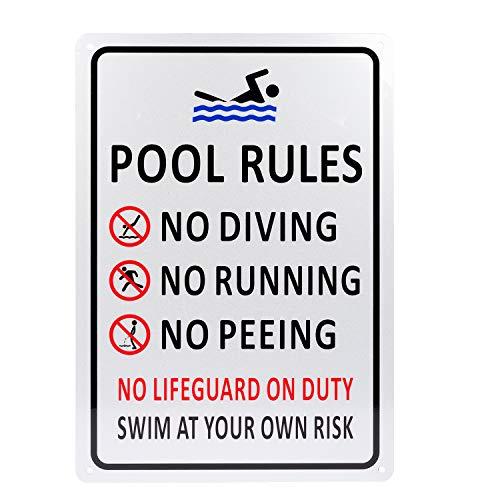Kichwit Schild mit Poolregeln und Aufschrift