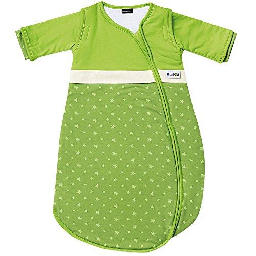 Gesslein Bubou Design 148: Temperaturregulierender Ganzjahreschlafsack/Schlafsack für Babys/Kinder, Größe 90, grün mit Sternchen