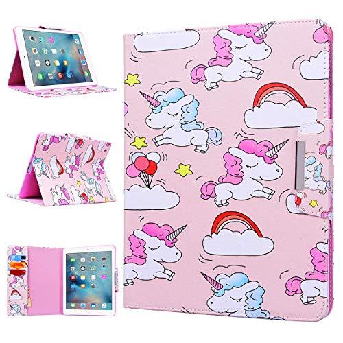 WE LOVE CASE Apple iPad 2 / 3 / 4 Cover Wallet Unicorno Custodia Pelle Flip Rosa Copertura PU Leather Silicone TPU Bumper Antiurto Protettiva SupportoCassa per Apple iPad 2 / 3 / 4