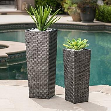 Eden Outdoor Wicker Flower Pots (Set of 2) (Grey)
