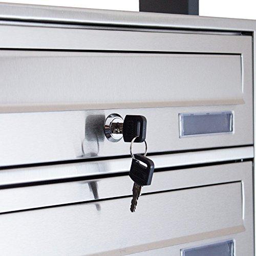 BITUXX® Design Edelstahl Doppel Stand-Briefkastenanlage Postkasten Letterbox Mailbox mit 10 Fächer und Dunkelgrauen Standrohren - 4