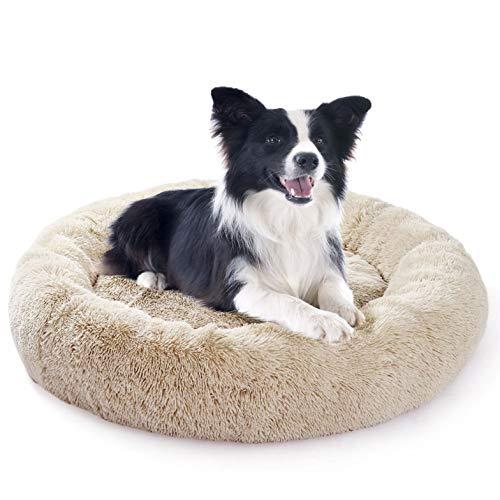 Fangqiyi Haustierbett Hundebett Katzenbett Flauschig Rund, Orthopädisches Hundebett atmungsaktiv, rund Hundekorb Hundekissen Waschbar, für mittlere und große Hunde - Beige 80cm